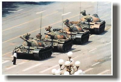 China Man Standing In Front Of Tanks - Political Poster