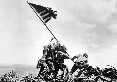 Iwo Jima U.s. Flag Raising Pacific World War Ii 11 X 14 Poster Photo Picture