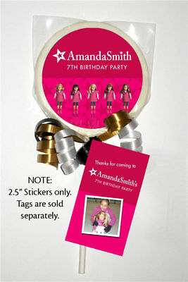 12 American Girl Doll Birthday Party Favors Personalized 2.5 Lollipop Stickers