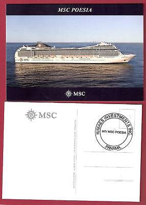 Msc Poesia    Msc Crociere Post Card  1  W  Ships Official Stamp