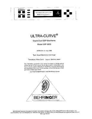 Behringer Ultra- Curve DSP 8000 Manual