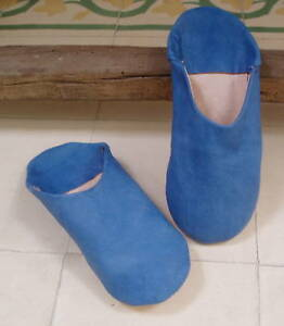 VERY-SOFT-LEATHER-SLIPPERS-MULES-BLUE-size-10-44-from-Morocco