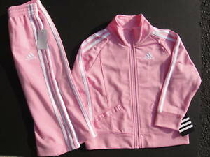 ADIDAS NWT 2PC Girl Jacket Pant Track Suit Pink Warm Up 6 9 12 18 24 2 2T 3 3T