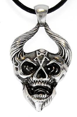 DEMON-SKULL-Silver-Pewter-Pendant-Leather-Necklace