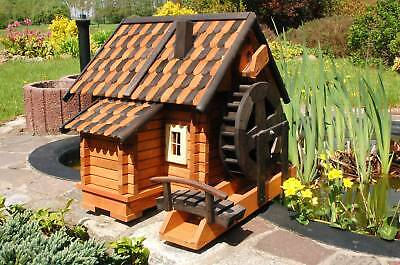 * Wassermühle Wassermühlen Teich Holzschindeln, Wasserrad kugelgelagert, Garten