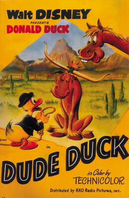 Dude Duck Donald Duck Disney movie cartoon poster print #A28 on Rummage