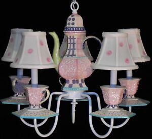 Pink Tea Party Chandelier Teapot Teacups