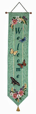 Butterfly Tapestry Wall Hanging - Graceful Flight ~ Butterfly Welcome Tapestry Wall Hanging Bellpull