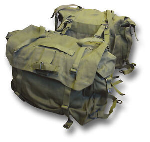1-PAIR-USED-GREEN-MOTORCYCLE-PANNIERS-HEAVY-DUTY-CANVAS