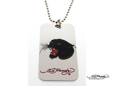 Ed Hardy Panther Head Dog Tag Pendant Necklace