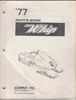 1977  SCORPION WHIP SNOWMOBILE PARTS  BOOK