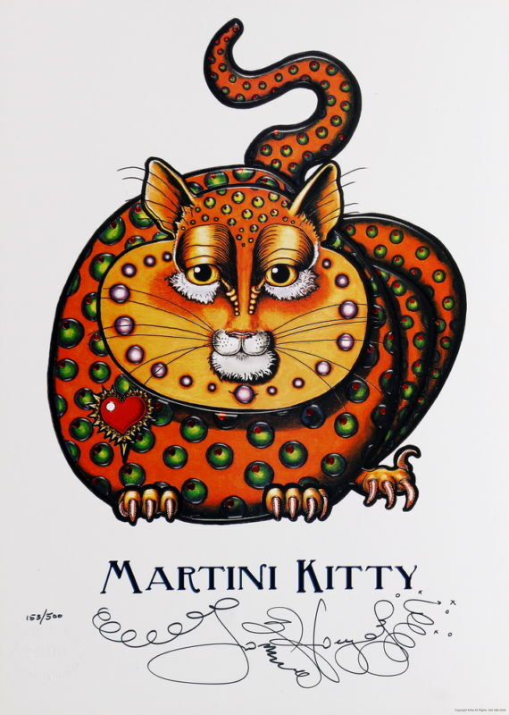 MARTINI KITTY by Jamie Hayes CAT, HEART, OLIVES