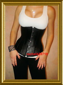 FAUX-LEATHER-CORSET-GOTHIC-CINCHER-UNDERBUST-Fits-30-32-034-Waist-FAST-SHIP-FROM-NY