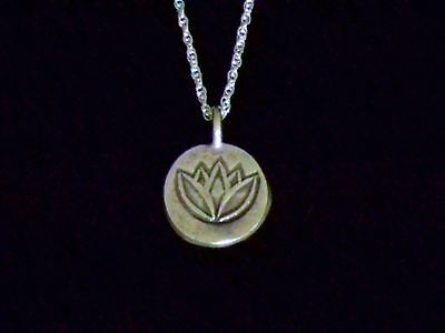 Fine Silver Lotus Leaf Charm Necklace 18 Chain