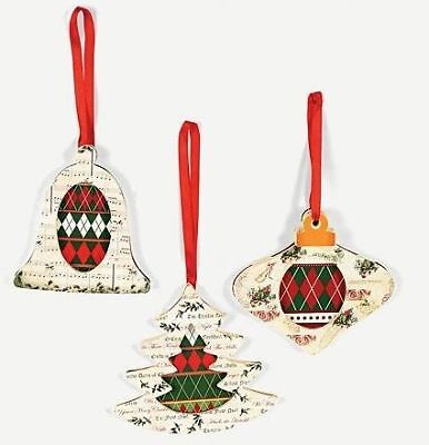 3 Wooden Christmas Carol Ornaments Craft Kit Gifts
