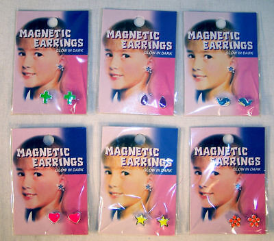4 Glow In The Dark Magnetic Earrings Magnet Earring Ear Rings Novelty Jewelry