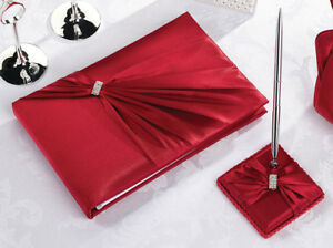 Diamond-Red-Wedding-Guest-Book-and-Pen-Set