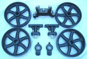 ANTIQUE HIT & MISS GAS ENGINE CART PARTS SET CAST IRON SIX SPOKE WHEELS