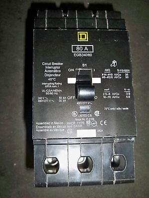 Square D Egb34080 3pole 80amp 480v Nf Type Panel Circuit Breaker New Warranty