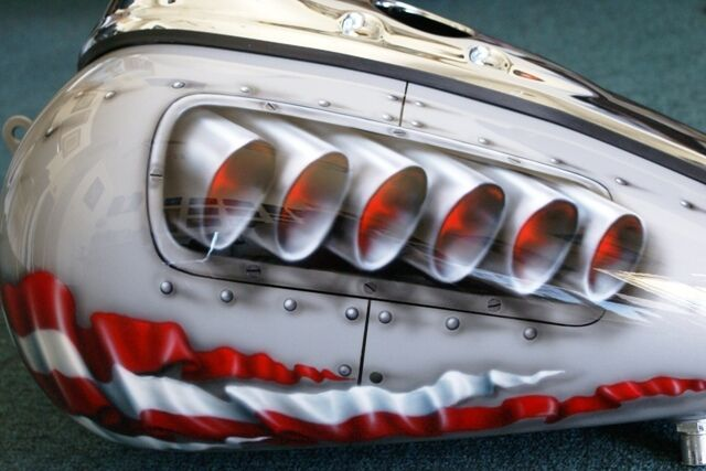 "Custom Motorcycle  Paint Job On Your Tins ""P-40/ Rivets"" Gas Tank Airbrush"