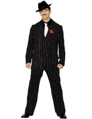 20s 1920s Gangster Zoot Suit Mens Fancy Dress Costume L 42-44 Black