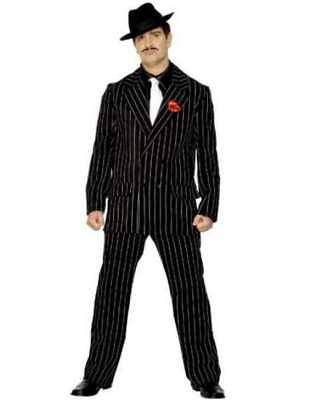 20s 1920s Gangster Zoot Suit Mens Fancy Dress Costume M 38-40 Black Smiffys