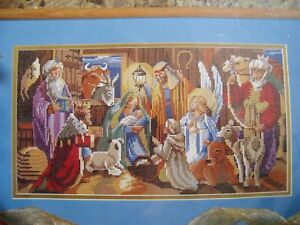 Bucilla-Christmas-Counted-Cross-Picture-KIT-NATIVITY-Family-Manger-Rossi-83323