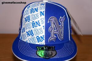 NY TWO TONE FITTED HAT, ROYAL FLAT PEAKS, HIP HOP CAPS