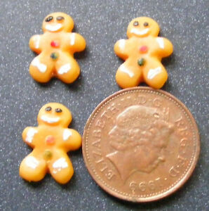 1-12-Scale-3-Ginger-Bread-Men-Dolls-House-Miniatures-Cakes-Bakery-Accessory