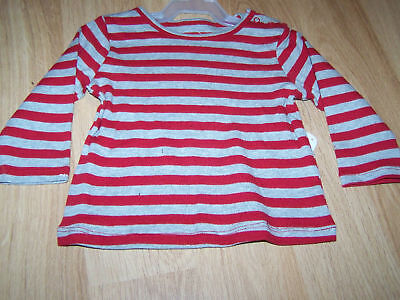 Infant Size 6-9 Months Disney Baby Red & Grey Striped Long Sleeve Shirt Top