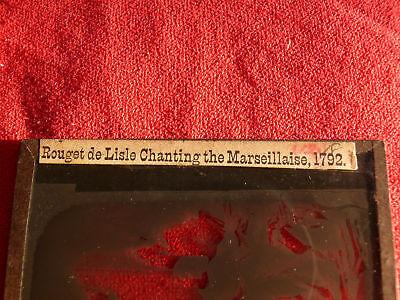 ca-1890-Magic-Lantern-Glass-Slide-ROUGET-deLISLE-CHANTING-MARSEILLAISE-in-1792