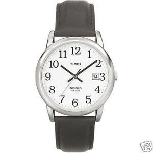 05b6fd1de Timex T2H2819J Easy Reader 35mm Leather Strap Watch for Men Black ...