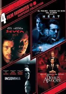 4 Film Favorites:Suspense(Devil's Advocate, Heat, Insomnia, Seven) DVD  LIKE NEW 1