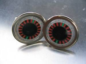CASINO ROULETE WHEEL GAMBLING CUFFLINKS