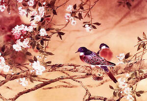 Plum Blossom Canvas Birds Chinese Painting Red Beige A1