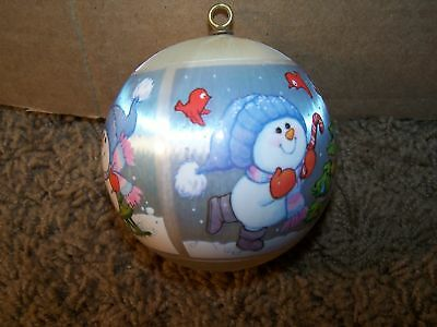 1980-HALLMARK-Satin-Ornament-Grandson-Snowman-Ball-EUC