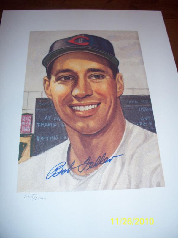 Bob Feller Autographed Litho 1953 Topps HOF