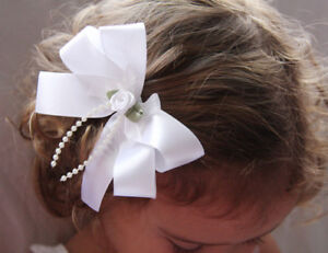 BABY-GIRL-LADY-WHITE-or-iVORY-SATIN-BOW-HAIR-CLIP-10cms