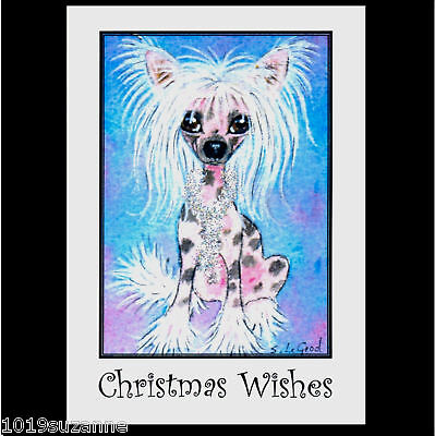 ORIGINAL CHINESE CRESTED DOG PAINTING GLITTER CHRISTMAS CARDS BY SUZANNE LE GOOD