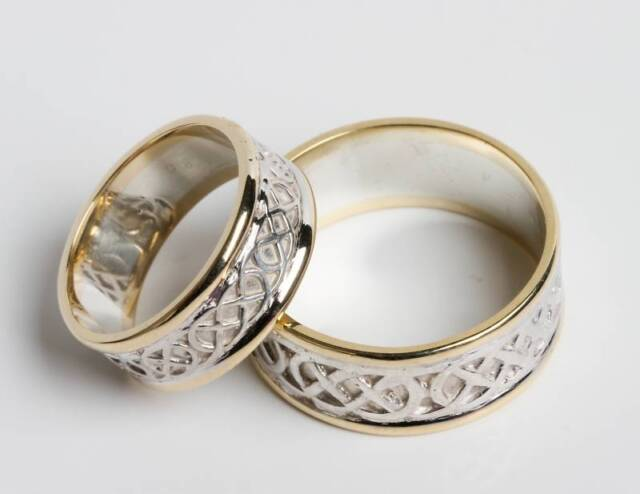 Pair Set Of Irish Handcrafted 14k Gold And Sterling Silver Celtic Wedding Rings