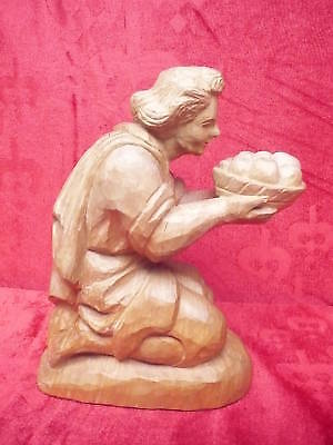Beautiful, antique wooden figure __ MAN WITH FRUIT __Basswood__ 20cm