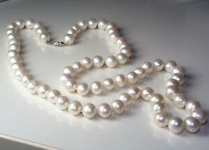 LARGE 9.8-11.5 mm WHITE PEARLS 30 INCHES