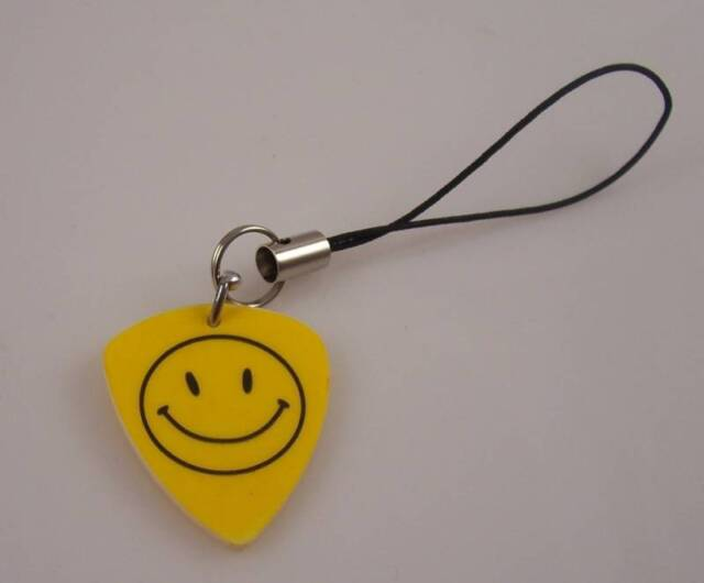 Guitar pic pick cell phone charm Musician smiley face universal