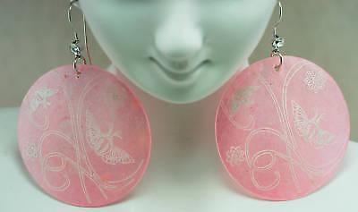 Dangling Silvertone Mother of Pearl Butterfly Crystal Rhinestone Earrings
