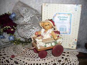 CHERISHED TEDDIES DIANE FIGURINE Retired MIB GIRL BEAR WAGON