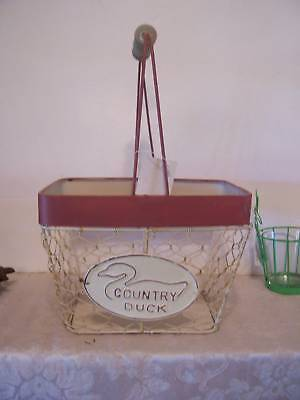 Country Duck Metal Basket Decoration Americana Country