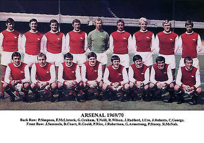 ARSENAL FOOTBALL TEAM PHOTO 1969-70 SEASON