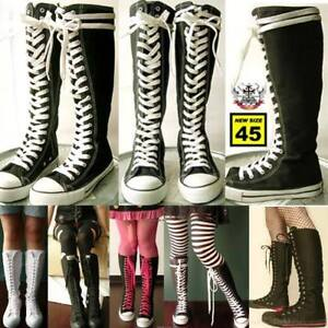 KERA-PUNK-EMO-Gothic-Goth-KNEE-HIGH-Canvas-Sneaker-Boot
