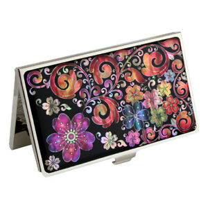Mother-of-Pearl-Purple-Orange-Flower-Metal-Business-Credit-Name-Card-Case-Holder