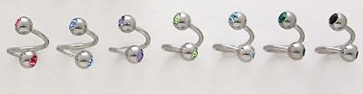 10 Double Gem CZ Spiral Twister Belly Button Rings New